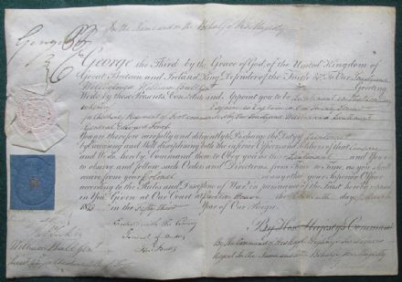 Antique Commission Signed by King George IV Prince Regent & Duke of Rutland 1813 Lieutenant i